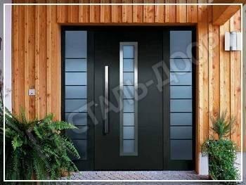 Порошковая входная дверь в коттедж со стеклянными вставками